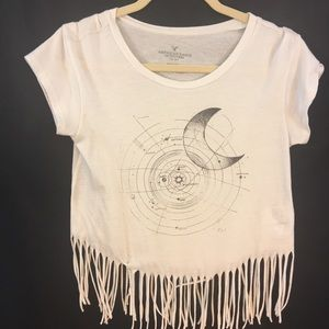 AMERICAN EAGLE Cropped T-Shirt XS Zodiac Graphic